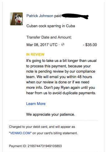 Venmo Cuban Cock Sparring Compliance