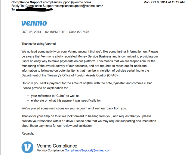 Venmo Compliance Rejects Cuba